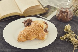 Croissant filled with chocolate