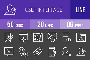 50User Interface Line Inverted Icons