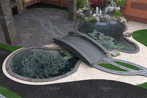 Water garden aerial view