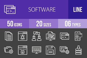 50 Software Line Inverted Icons
