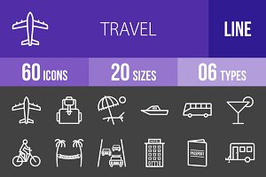60 Travel Line Inverted Icons