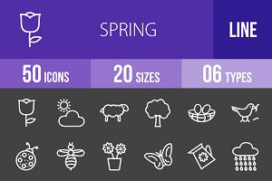 50 Spring Line Inverted Icons