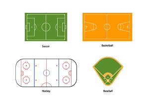 Sport fields marking on white