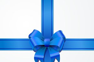 Bright blue bow-knot with tape