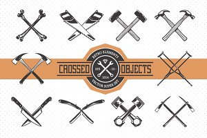 Crossed Retro Objects | Icons Set