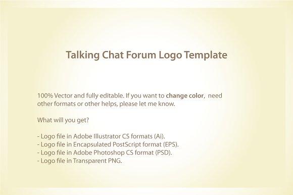 Talking Chat Forum Logo Template ~ Logo Templates ~ Creative Market