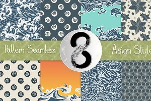 8 Pattern Seamless Asian style set