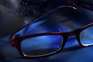 Eyeglass in Blue Light background