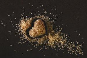Natural brown Sugar heart Shape