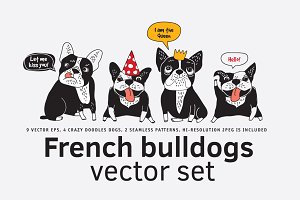 French bulldogs vector set