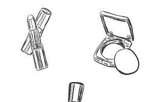 set of makeup objects, sketch