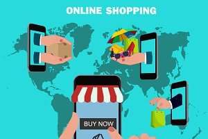 online mobile shopping concept