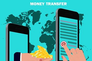 money transfer, flat design