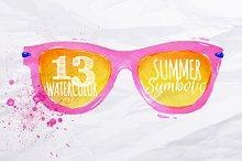 Set Watercolor summer