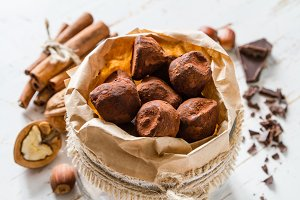 Chocolate truffes candies and ingredients