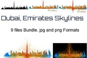 9x Bundle Dubai city Skyline