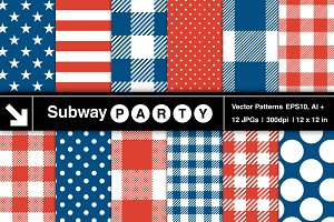 Vector Patriotic Plaid Stars Stripes