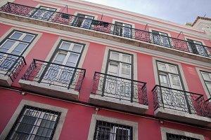 Lisbon bright red building