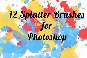 12 Color Splatter Photoshop brushes