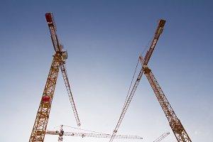 Cranes on sky