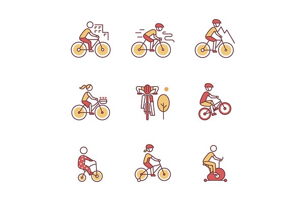 Bike types and cycling sign set