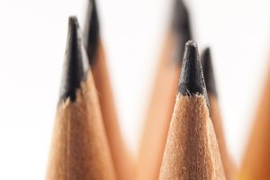 Sharp pencils focused