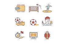 Soccer game signs set