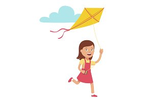 Girl running and playing kite