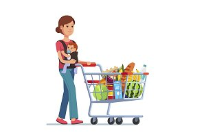 Mother with kid and shopping cart