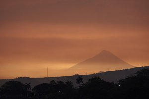 Volcano in sunset