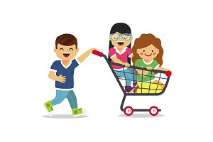 Kids riding in shopping car