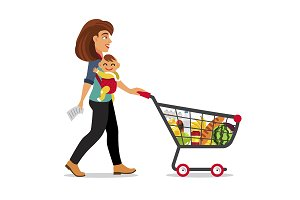 Mother with son and shopping cart