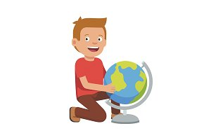 Kid sitting at terrestrial globe