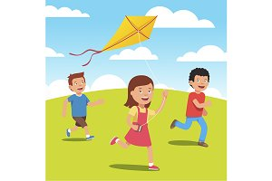 Kids playing with yellow kite