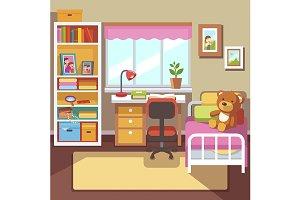 School student girls room interior