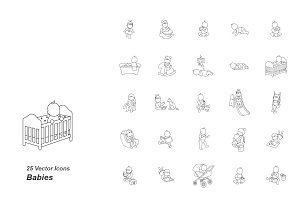 Babies outlines vector icons