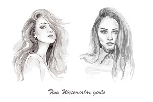 Two watercolor portrait of the girls