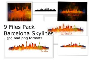 9 Files pack. Barcelona Skylines