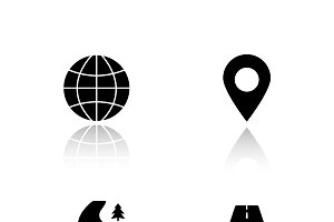 Gps map navigation icons. Vector