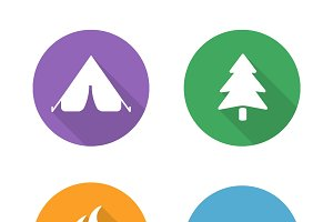 Camping icons. Vector