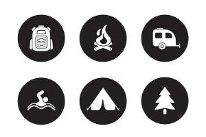 Camping and tourism icons. Vector