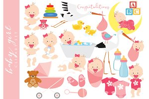 Baby clip art baby girl clipart pink