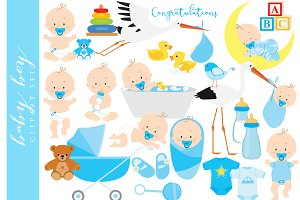 Baby clipart baby boy clip art blue