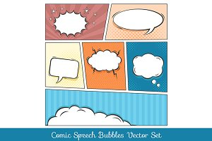 Comic speech bubbles vector set