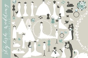 Wedding clipart bride clip art groom