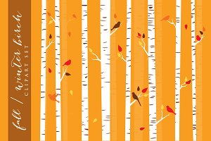 Birch trees winter fall clip art