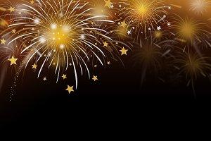 Gold fireworks background