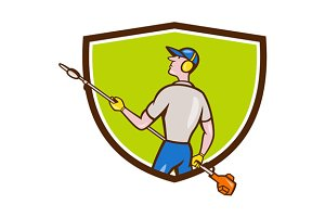Gardener Hedge Trimmer Crest Cartoon