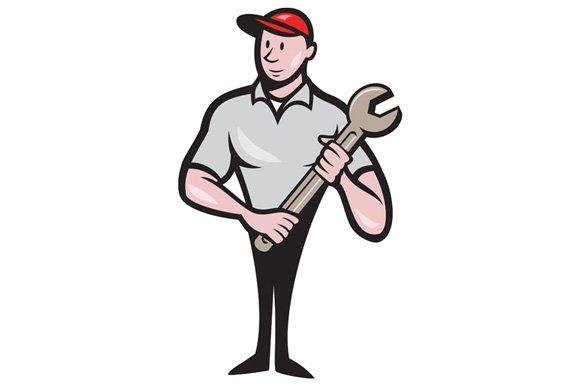Mechanic Worker Standing Carrying