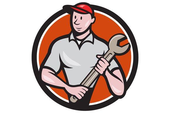 Mechanic Worker Standing Spanner